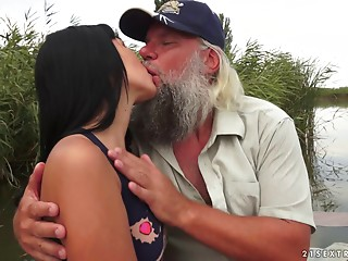 Hot dark-haired mare lets the bearded paramour do some naughty things