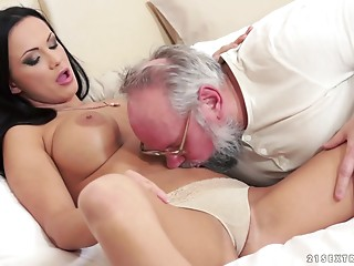 Naughty older fellow bonks his stubby cock into a marvelous hotty