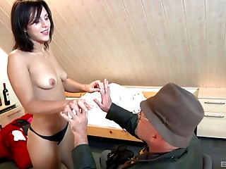 Chunky older stud and a college coed have hawt sex jointly