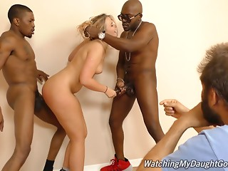 Cute blond hotty goes dark with a pair of thugs