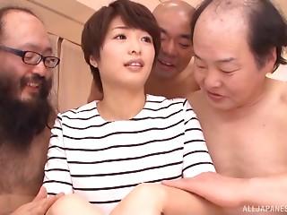 Much mature Japanese fellows team up to bang a hawt AV model