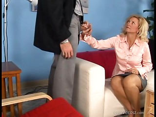 Golden-haired mamma Katie blows and enjoys upskirt from behind sex