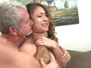 Bliss Dulce receives her Oriental bawdy cleft gangbanged by an older man