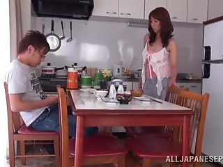 Old Shiori Ihara acquires her hairless cum-hole screwed in a kitchen