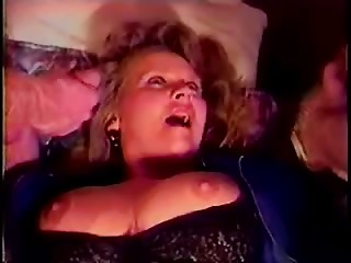 Aged whore has sex with 2 males in retro movie