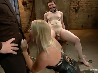 Astounding blond domme and a man bonk their sex thrall