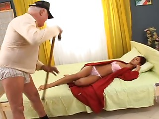 Hawt redhead playgirl copulates her friend's grandfather after engulfing his knob