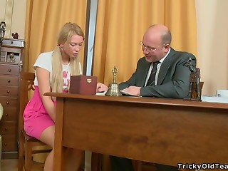 Dazzling Golden-haired Young slut Having Sex with an Grandpapa in the Office