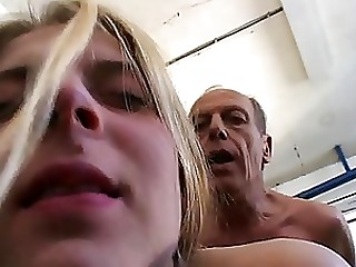 Blonde Gets Rammed By An Old Man Doggy Style