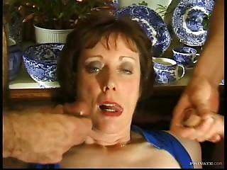 Brunette Milf Gets Gangbanged By Horny Big Cocks
