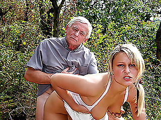 Granddad and Older Woman Have a Hawt 3some With a Pretty Golden-haired Honey