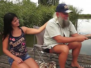Old fisherman fucks young brunette Naomie