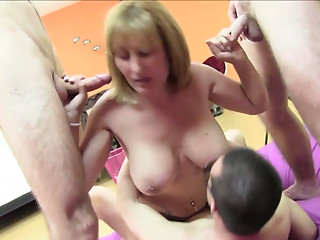Nuria Madurita gives blowjob and gets her twat rammed in gangbang scene