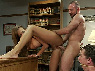 Exposed wife showing her flexibility n library table