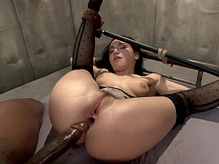 Feeble lewd mother dicked hard anally with ebony knob