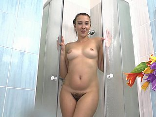Hirsute mother showers her juicy cherry