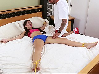 Daughter fastened up and drilled hard by father
