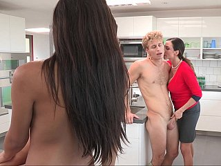 Mamma helping her step-daughter to screw her BF