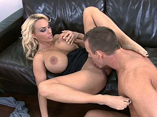 Golden-haired large titted mommy acquires screwed