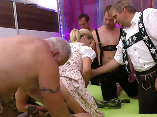 Stepmother acquires fisted at the group-sex fuckfest