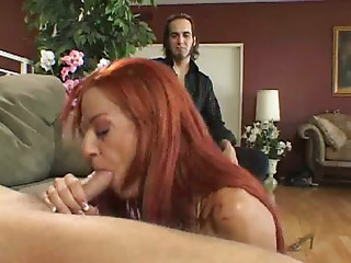 Passionate and lively redhead with huge breasts loves missionary position