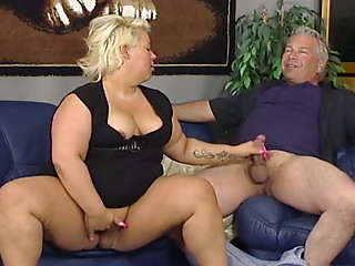 Chubby ugly blonde wifey provides her hubby with solid blowjob and titjob